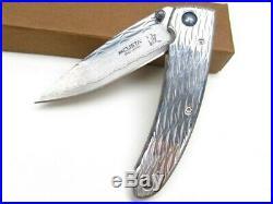 Mcusta 111D Stainless Handle Small Nami Straight VG-10 Damascus Folding Knife