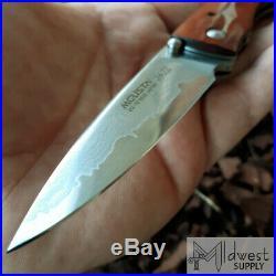 Mcusta Jazz Linerlock Folding Knife 3.125 Damascus Steel Blade Wood Handle