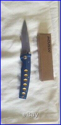 Mcusta Katana Folding Knife VG-10 Core Damascus Steel Blade Blue Orange MC 0042C