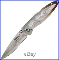 Mcusta Kusumi MC-31D Folding Knife, 2.81 Plain Edge Blade, Damascus Handle