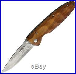 Mcusta Linerlock Folding Knife 3.25 Damascus Steel Blade Brown Ironwood Handle