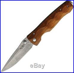 Mcusta Linerlock Folding Knife 3.5 Damascus Steel Blade Ironwood Handle U125D