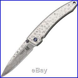 Mcusta MCU114D Tsuchi Damascus Folding Knife 3.25 Drop Point Blade Folder