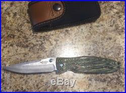 Mcusta Rikyu Folding Knife Used Damascus Steel Blade Green/Black Wood Handle