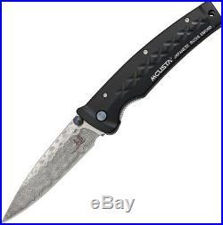 Mcusta Tsuchi Folding Knife 3.25 Damascus Steel Blade Black Aluminum Handle