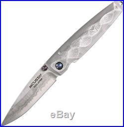 Mcusta Tsuchi MC-34D Folding Knife, 2.81 Plain Edge Blade, Damascus Handle