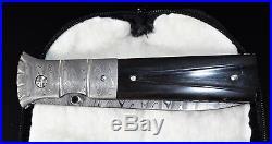 Mel Pardue Custom Handmade Damascus folding knife. Very Rare