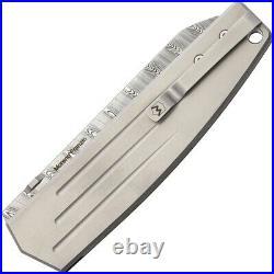 Mercury Logan Folding Knife 3.75 Damascus Steel Blade Black G10/Titanium Handle