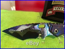 Mick Strider Custom San Mai Damascus tanto XL textured grips folding knife