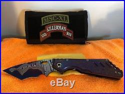 Mick Strider Custom XL San Mai Damascus Tanto textured grips folding knife
