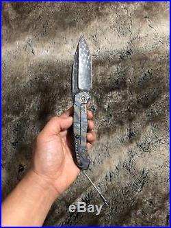 Microtech Marfione Custom Anax Blued Polished Damascus Folding Knife Serial #10