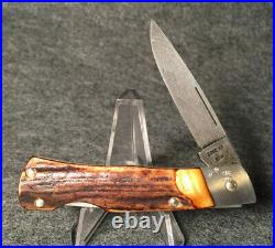 Mint CASE XX USA 51059 LD STAG LOCKBACK 1989 Damascus Steel Folding Knife