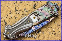 Mint Suchat Jangtanong Folding Knife Mosaic Damascus Dagger Pearl Titanium Topaz