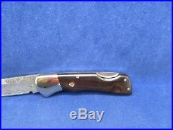 Muela Folding BX-8 DAM Lockback Damascus Knife Africa Wood Handles & Display