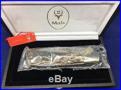 Muela Folding BX-8A DAM Lockback Damascus Knife Stag Handles & Display