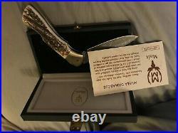 Muela Hand Made Damascus Antler folding knife made in spain