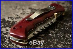 NEW Damascus Steel Folding Knife Handmade Leather Shealth Red Micarta USA