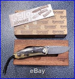 NEW Orvis Lion Steel Folding Mini Pocket Knife Damascus Ram Horn Handle 8210DMN
