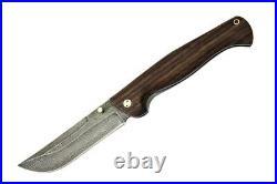 NEW RUSSIAN Strazh-2 Handmade Damascus Folding Blade Knife Oak Wood Handle