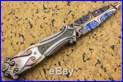 NEW Suchat Jangtanong Folding Knife Mosaic Damascus Black Pearl Titanium Topaz