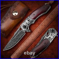 NEWOOTZ Damascus Steel Pocket Folding Knife Japanese Wooden Handle EDC Tactical
