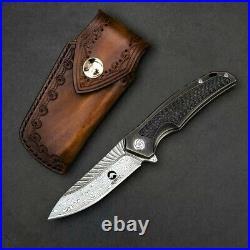 NEWOOTZ Exotic VG 10 Damascus Steel Titanium Carbon Fiber Handle Folding Knife