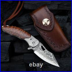NEWOOTZ Pocket Folding Knife VG10 Japanese Damascus Steel Blade Snakewood Handle
