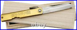 Nagao Higonokami 16 Blue Paper Steel Damascus Brass Folding Knife Pocket Folder