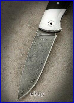 Natural Custom handmade hand-forged folding knife Black Panther Damascus