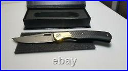New Bastion Baron Folding Knife Damascus Steel Carbon Fiber in Box