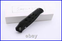 New Custom camping Pocket Folding Knife Damascus Blade Carbon Fiber + titanium