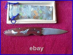 New Limited Edition No. 021 Mcusta Knife Folding Damascus Blade Wood Batterflies