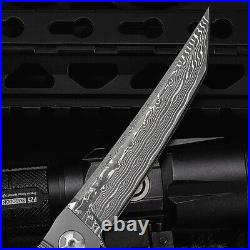 New Outdoor Fixed Tactical Folding Knife Damascus Steel Titanium Alloy survival