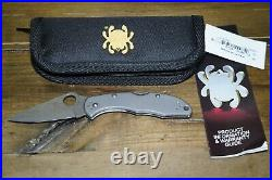 New Spyderco C11TIPD Titanium Scales Delica 4 Knife with VG10 Damascus Plain Blade