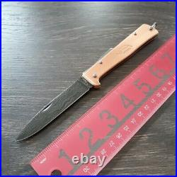 OTTER-Messer Mercator Folding Knife 3.5 Damascus Steel Blade Copper Handle