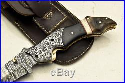 One-of-a-kind Custom Hand Made Damascus Folding Knife Chisel Engraved Um-4851