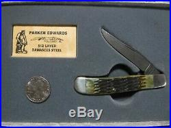 Parker Edwards Damascus folding trapper knife the Alabama Knife Factory