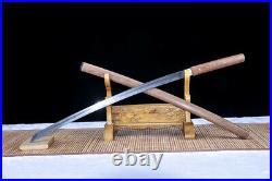 Pear Wood Japanese Dao Sword Samurai Katana Damascus Folded Steel Sharp Knife