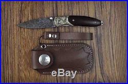 Premium Craftsmaship 7 Handmade Damascus Folding Knife, Swiss Powder Damascus