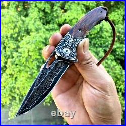 Premium Drop Point Folding Knife EDC Hunting Tactical Damascus Steel Wood Handle