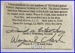 Pro-Tech Sidekick Folding Knife Damascus Wayne Clark Devin Thomas #17 limited ed