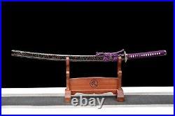 Purple Handmade Damascus Folded Steel Katana Japanese Samurai Sword Sharp Knife