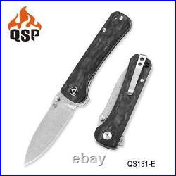 QSP Hawk Folding Knife Black Shredded Carbon Fiber Handle Damascus QSP131-E