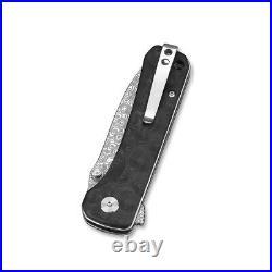 QSP Hawk Folding Knife Damascus Steel Blade Carbon Fiber Handle QS131-A