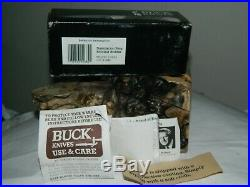 RARE Buck (1989) 110 DM Damascus /Stag Folding Hunter Popcorn Scales knife BOX