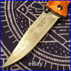 RARE Mcusta MC-16D Damascus VG-10 steel folding knife withQuincewood Burl handle