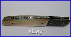 RARE STEVE FECAS Damascus & Gold Lip Pearl Linerlock Handmade Folding Knife