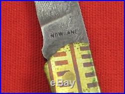 RICK NOWLAND Damascus Blade, Bone Handle, Small Custom Lock-Back Folding Knife