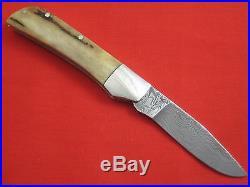 RICK NOWLAND Damascus Blade Stag Handle Custom Slip-Joint Folding Knife Folder