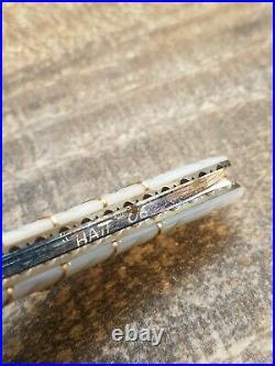 ROGER HATT Knives CUSTOM KNIFE PEARL & DAMASCUS Liner lock Folding knife NICE